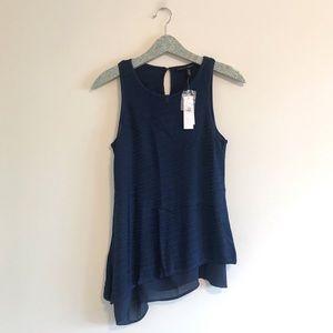WHBM | NWT Blue Asymmetrical Knit Tank